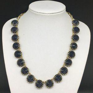 J CREW Navy Blue Rhinestone Venus Flytrap Necklace